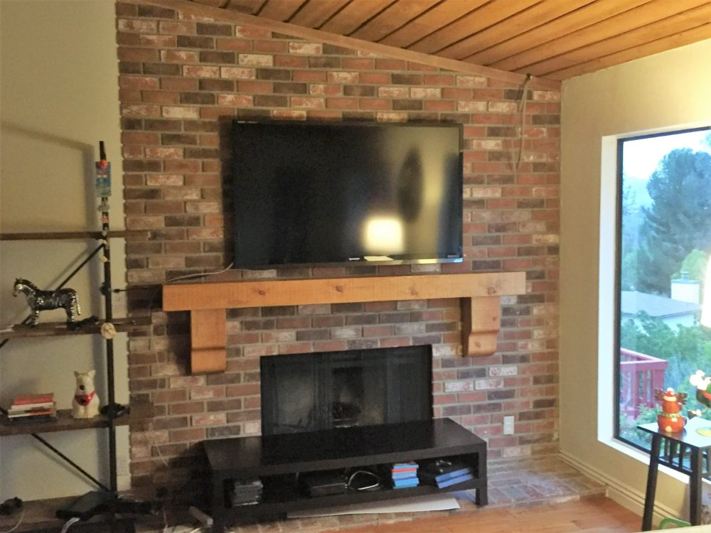 Rustic Fireplace Mantle and Flat Screen TV installation in